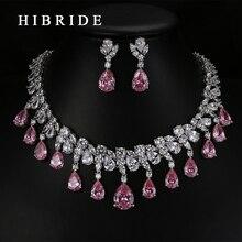 HIBRIDE جودة عالية المسيل للدموع قطرة الشكل AAA زركون الزفاف مجوهرات الزفاف مجموعات ، الذهب الأبيض اللون طقم مجوهرات N 59