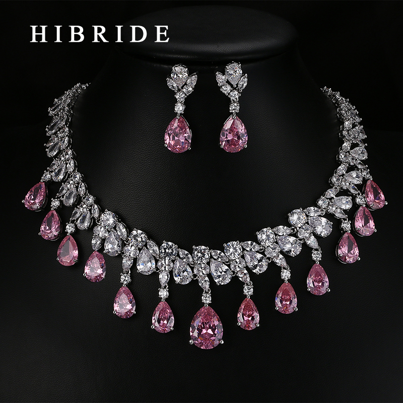 HIBRIDE Top Quality Tear Drop Shape AAA Cubic Zirconia Bridal Wedding Jewelry Sets,White Gold Color Jewelry Set N-59 hibride luxury top quality white green water drop shape cubic zirconia jewelry sets white gold color necklace earrings n 057