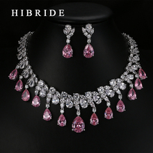 HIBRIDE Top Quality Tear Drop Shape AAA Cubic Zirconia Bridal Wedding Jewelry Sets,White Gold Color Jewelry Set N-59