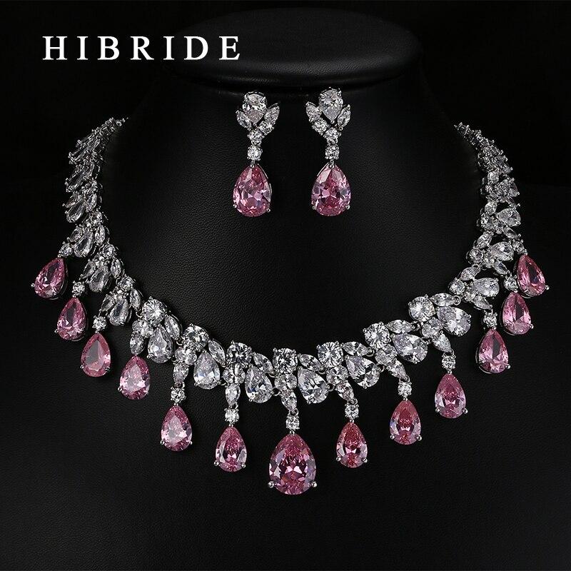 HIBRIDE Top qualité larme forme AAA cubique zircone nuptiale ensembles de bijoux de mariage, or blanc couleur bijoux ensemble N-59