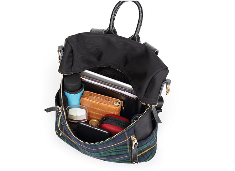 plaid women backpacks genuine leather travel backpack for lady brand shoulder bags (3)