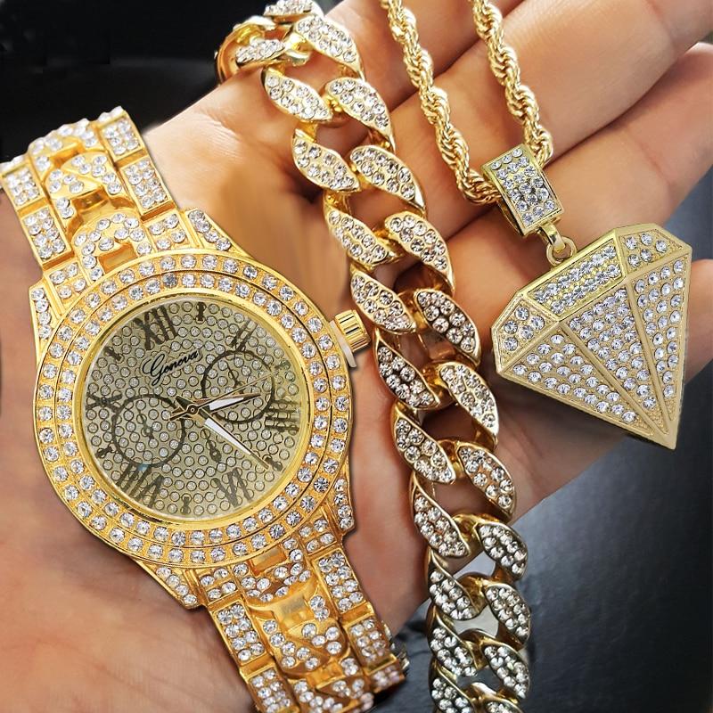 """Hip Hop Choker 8"""" Bracelet and watch"""