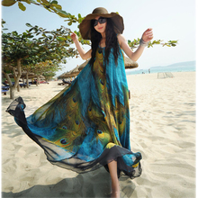 Chiffon Women Party Boho Dress Peacock Print Long Beach Sleeveless Blue N1