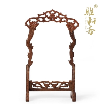F Zhai Gallery] wings hanging ornaments carved mahogany frame jade Shuanglong jade jewelry jewelry frame hanging frame frame fra