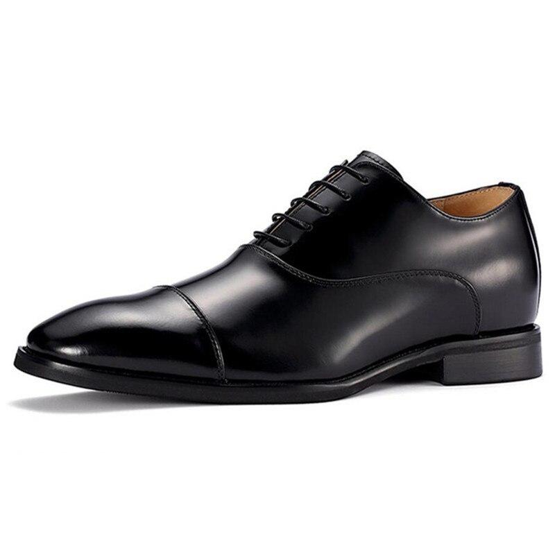 Sapatos feitos à mão do elevador Chegar Mais Alto de Couro Preto Oxford Vestido Formal Shoes Altura Crescente 6 CM Para Festa de Casamento