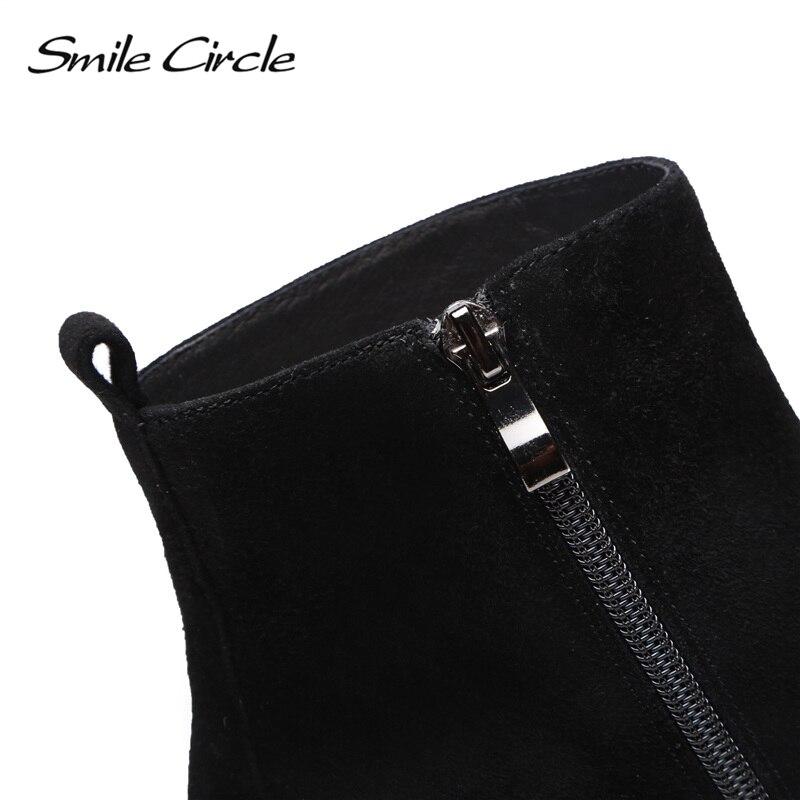 2018 Bottes Femmes Cheville Noir Cuir Pointu Haute marron En Bout Cercle Hiver Automne Dames De Chaussures Qualité Véritable Pour Courtes Sourire 4HA6wz