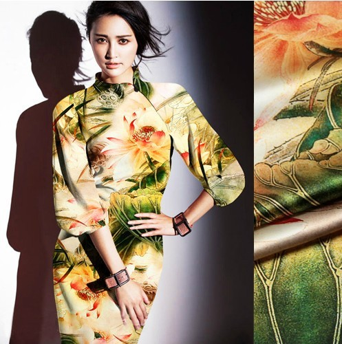 118cm wide 19mm 93% silk & 7% spandex orange lotus flower green leaves print silk satin fabric for dress shirt clothes