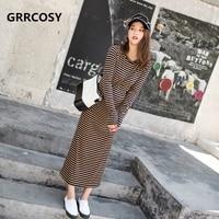 GRRCOSY Autumn Winter Maternity Long Striped Dress Pregnant Women Khaki Stripes Korean Casual Long Sleeves Dress Pregnant Cloth