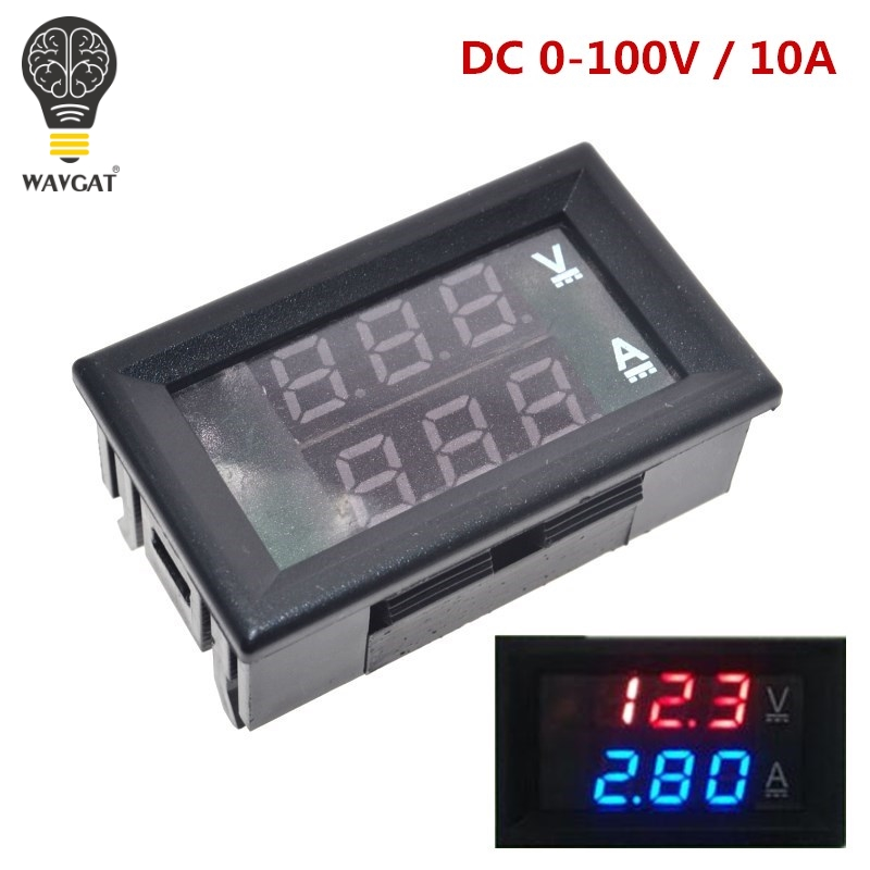 DC 0-100V 10A Digital Voltmeter Ammeter Dual Display Voltage Detector Current Meter Panel Amp Volt Gauge 0.28'' Red Blue LED