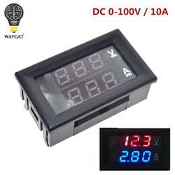 """DC В 0-100 в 10A цифровой вольтметр Амперметр двойной дисплей Напряжение детектор измеритель тока щитовой Амперметр Вольт Калибр 0,28 """"красные"""