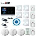 SmartYIBA WiFi 2G GSM домашняя охранная сигнализация домашняя защита GPRS система сигнализации приложение управление с беспроводным детектором дыма