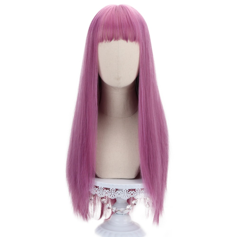 Long Straight Anime Mal Cosplay Synthetic Wig Pink Violet Hair Wigs With Bangs 26'' Cartoon Wigs For Descendants Costume HP-C-12