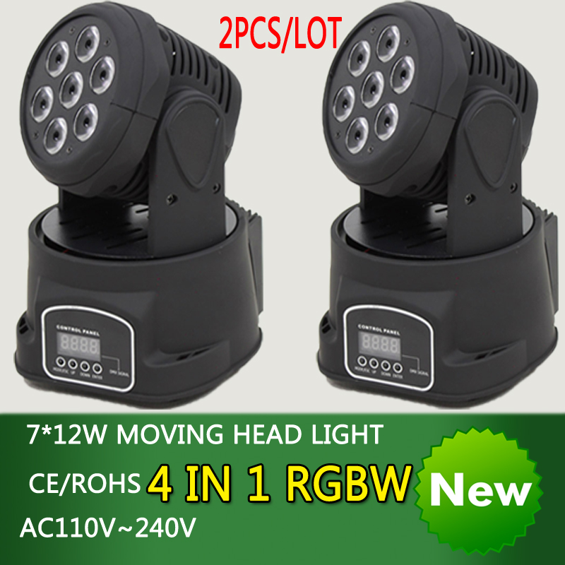 2pcs/lot 7*12W moving head LED light 4 in1 RGBW mixer dj light disco dmx professional stage projector wedding background light niugul dmx stage light mini 10w led spot moving head light led patterns lamp dj disco lighting 10w led gobo lights chandelier