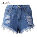 ArtSu Women Denim Shorts Solid Blue Short Jeans Hole Summer Ripped Shorts High Waist Loose Hot Trousers Clothing ASSH50004