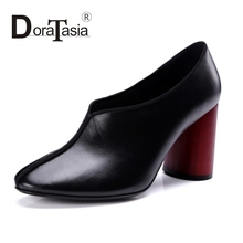 DoraTasia luxury genuine leather high heel shoes pumps woman slip on black pumps sexy square toe mixed color shoes