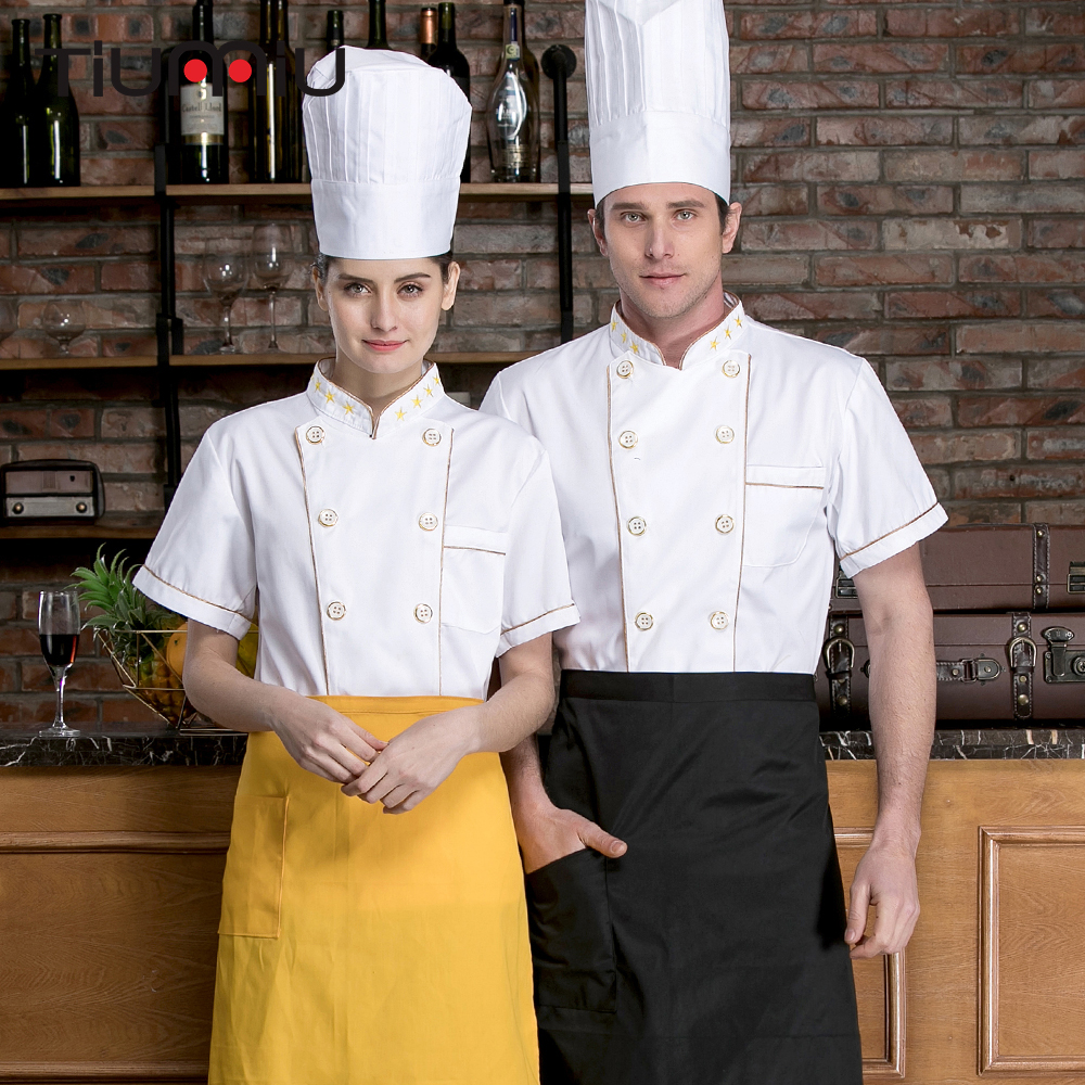 New Double Breasted Chef Jacket Kitchen Restaurant Hotel Workwear Uniform Short Sleeve Cooking Shirt Catering Bakery Summer Tops
