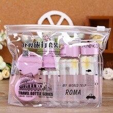 7 PCS/set Travel Cosmetic Empty Jar Pot Makeup Face Cream Container Bottle 3 Colors Drop Shipping