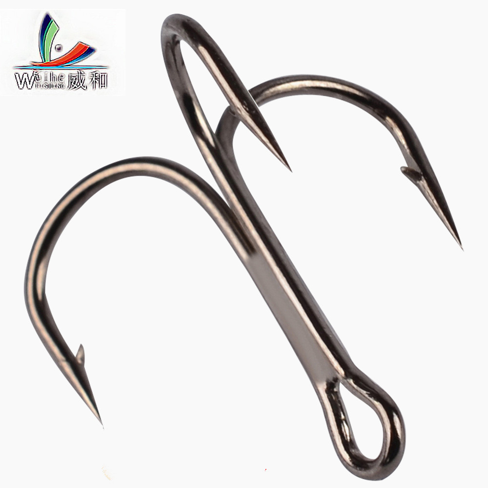 10pcs Fishing Hooks High Steel Carbon Material Treble Black Fishing Hook Round Folded Saltwater Bass 3/0 # -10 # Tackle Tools