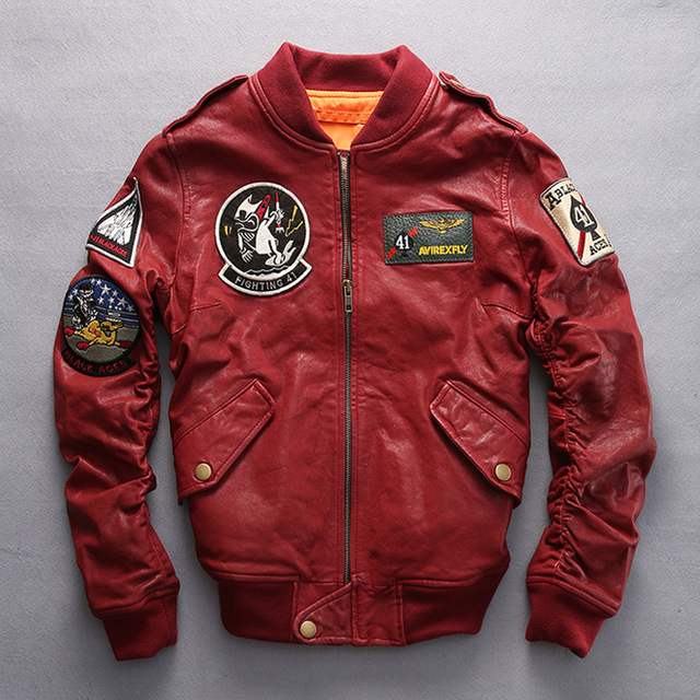 b6b336fd77a US $205.0 |Pilot fly air force badge flight bomber jacket sheepskin  mandarin collar pilot leather jacket womens female mortorcycle blazer-in  Leather & ...