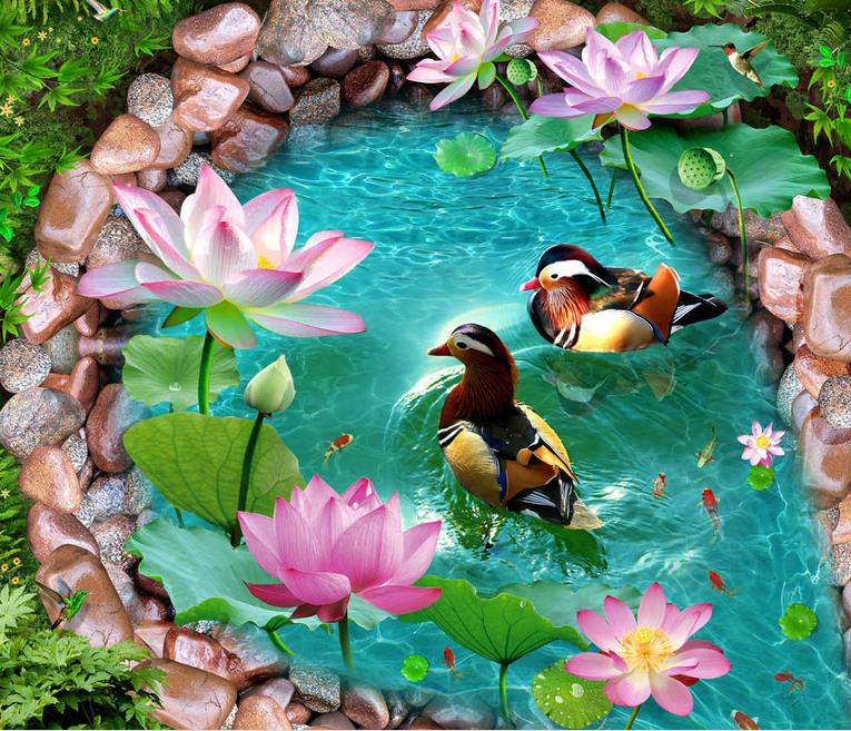 custom 3d flooring self adhesive wallpaper 3d floor tiles living room pvc roll floor Mandarin duck lotus photo wallpaper free shipping marble texture parquet flooring 3d floor home decoration self adhesive mural baby room bedroom wallpaper mural