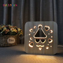 Night Lamp Baby Christmas Gift LED Wood Lights Kids Room Warm Light