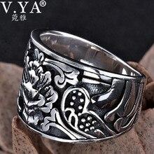 S925 одноцветное тайский серебряный цветок кольца для мужчин Панк Черный ювелирные изделия 100% натуральная 925 Серебряное кольцо США Размер 8-12 HYR27