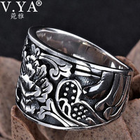 S925 Solid Thai Silver Flower Rings for Men Punk Black Jewelry 100% Real Genuine 925 Sterling Silver Ring USA size 8-12 HYR27