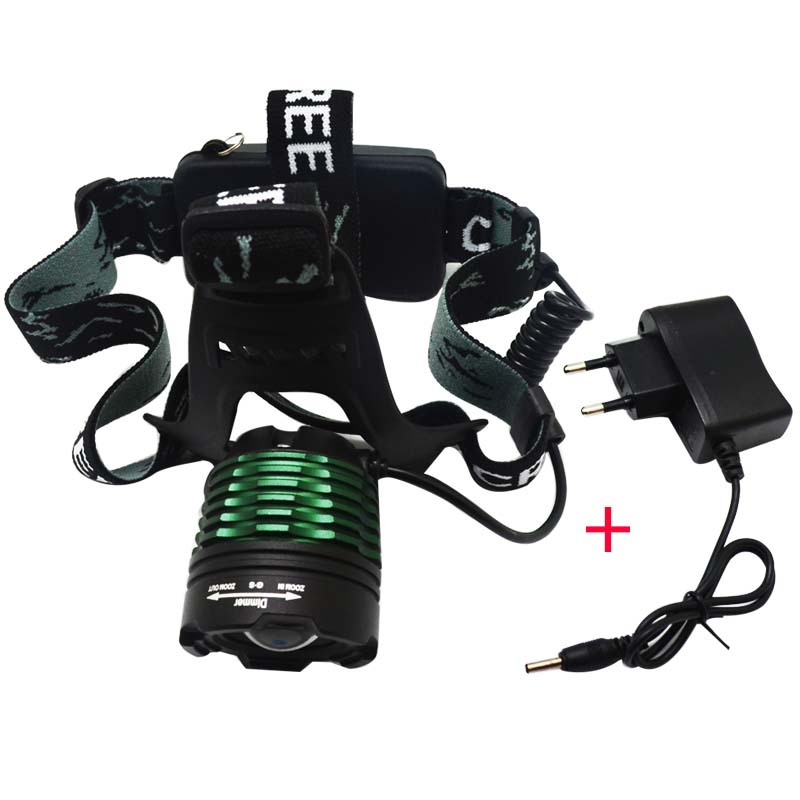 Waterproof LED Headlight CREE T6 Headlamp 2000LM with DC Charger LED Flashlights Head Torch Camping Fishing