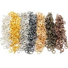 100 шт./лот, 3 цвета, застежка-коготь из цинкового сплава для ювелирных изделий, ожерелья, браслетов, без никеля(12x7 мм