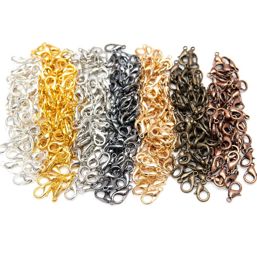 100Pcs/lot 3 Color Zinc Alloy Lobster Claw Clasps For Jewelry Necklaces Bracelet Making, Nickel Free (12x7mm)