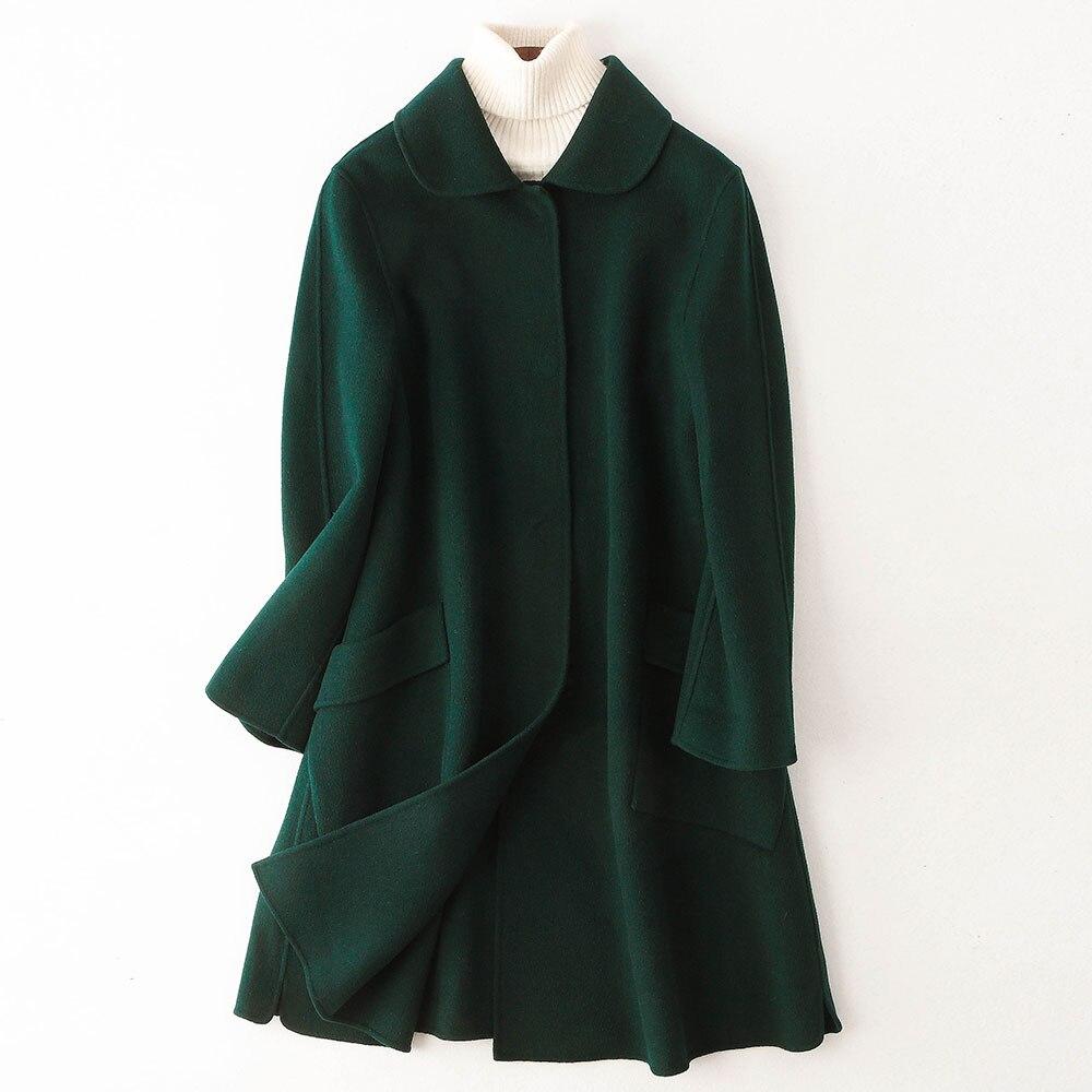 Green Et Blackish Double Long Pardessus Moyen face Renversé Pour Laine col Femmes wI1qvxZRP