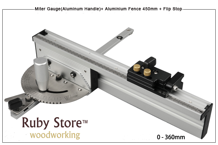 Miter Gauge Aluminium Fence 450mm Flip Stop Brass Aluminum Handle for you to choose