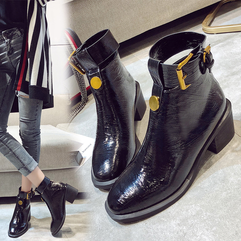 Británico Bota Redonda Corta Cabeza Retro Estilo Negro Señora 2019 Cuero Tacón Las De Zapatos Alto Casual Mujeres E40OWxqw