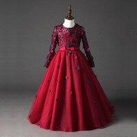Элегантное платье принцессы красного цвета для девочек платья Причастие вечерние платье для выпускного вечера Пышное маленькой подружки н