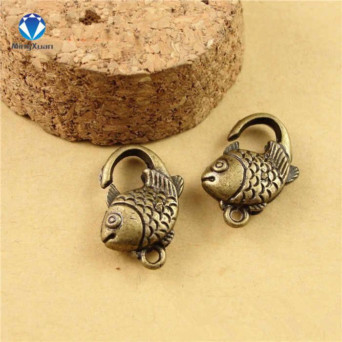 10 sztuk/partia antyczne srebro ryby karabińczyk haki na naszyjnik bransoletka łańcuch DIY biżuteria akcesoria ustalenia 20*13 MM