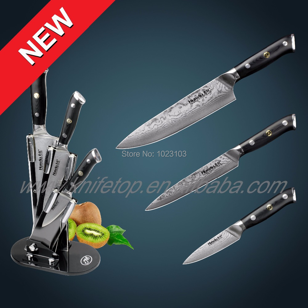 Huiwill Super Quality Takefu Japanese VG10 67layers Damascus carbon steel kitchen Chef knife set Kitchen Knives