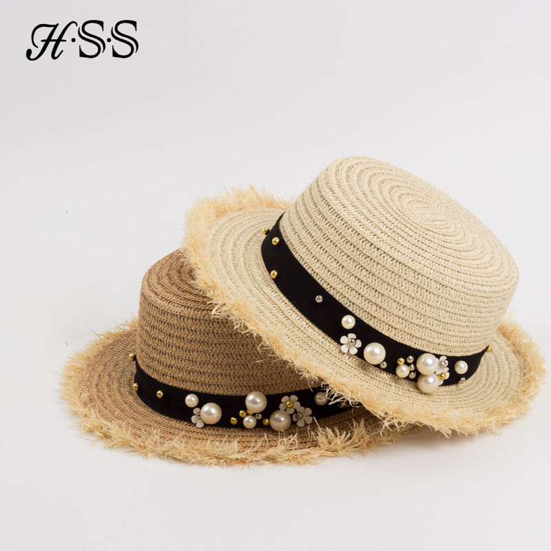 f6fe357e540 HSS Hot Sale+Flat top straw hat Summer Spring women s trip caps leisure pearl  beach sun hats M letter breathable fashion flower-in Sun Hats from Apparel  ...