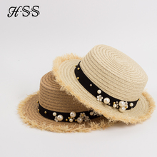 Tide section of the flat top of the straw hat Summer men and women leisure pearl