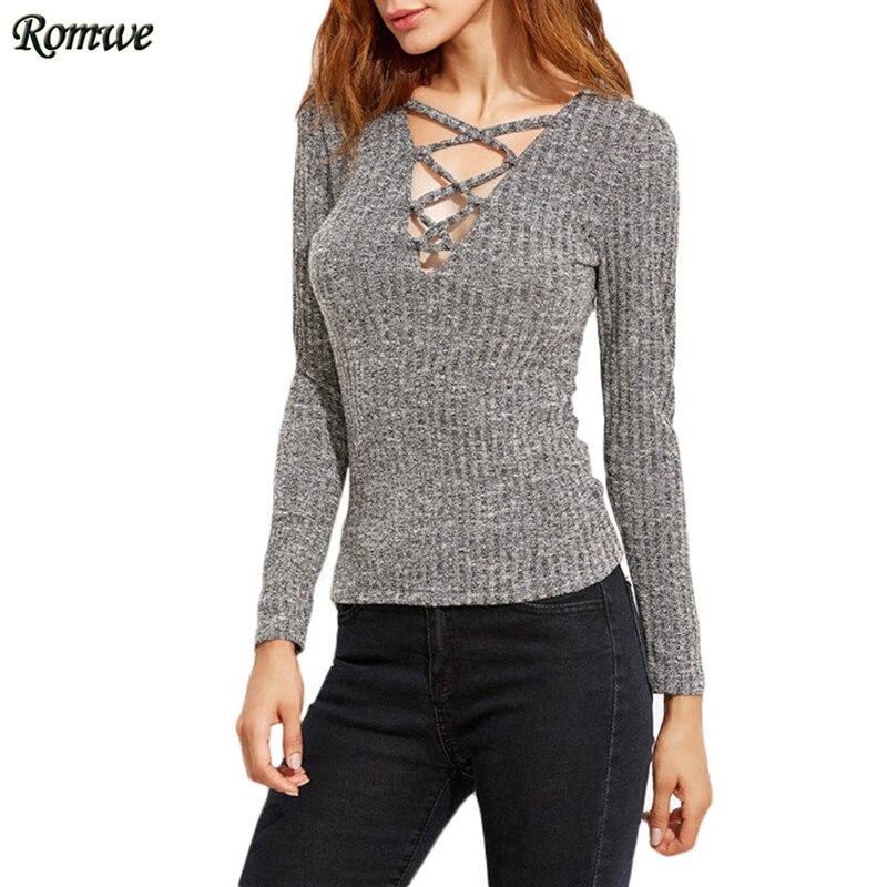 ROMWE Autumn Sexy T shirts For Women Casual Tops Plain <font><b>Heather</b></font> <font><b>Grey</b></font> <font><b>Deep</b></font> <font><b>V</b></font> <font><b>Neck</b></font> Long Sleeve <font><b>Lattice</b></font> <font><b>Ribbed</b></font> <font><b>T-shirt</b></font>