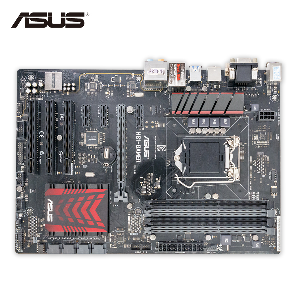 Asus H81-GAMER Desktop Motherboard H81 Socket LGA 1150 i7 i5 i3 DDR3 16G SATA3 USB3.0 ATX Second-hand High Quality материнская плата asus h81m r c si h81 socket 1150 2xddr3 2xsata3 1xpci e16x 2xusb3 0 d sub dvi vga glan matx