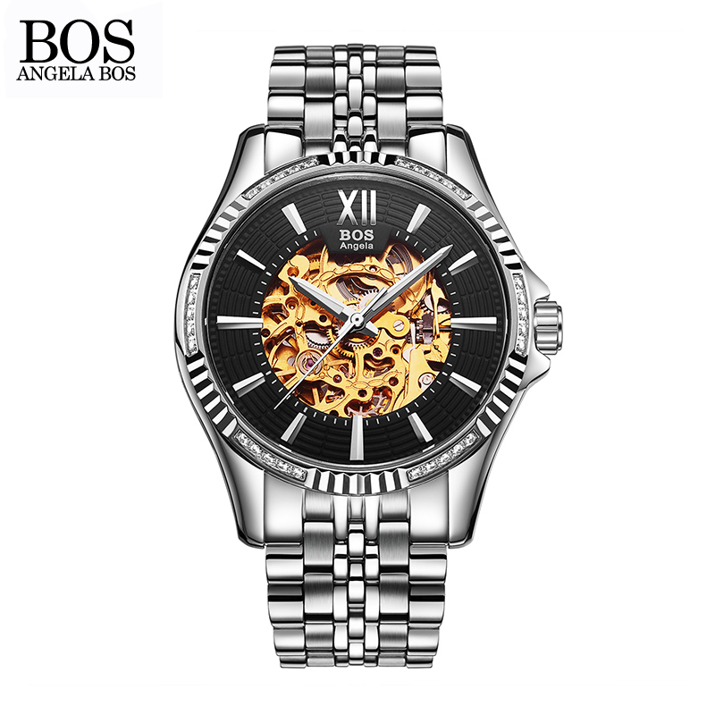 ANGELA BOS Business Automatic Mechanical Watches For Men Waterproof Black Stainless Steel Skeleton Luxury Man Watches Wristwatch angela bos luxury brand black mechanical skeleton self wind automatic men watch waterproof stainless steel leather sport watches