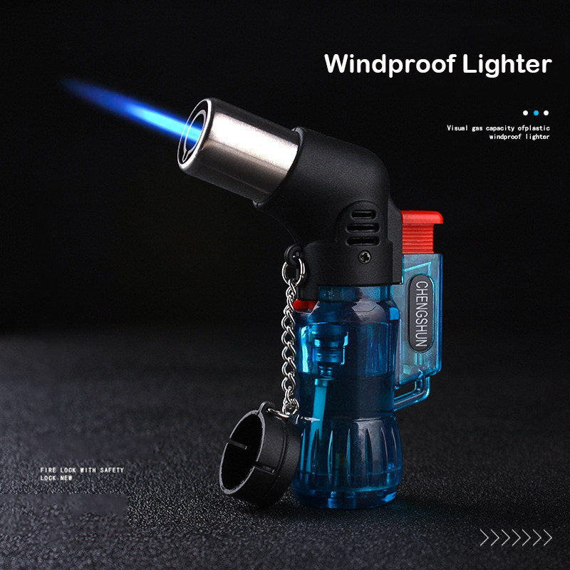 Mini Butane Jet Torch Windproof Gas Lighter Turbo Random Color Plastic Fire Ignition Cigar Pipe Kitchen Lighter Outdoor