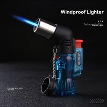 Мини бутановый струйный фонарь, ветрозащитная газовая зажигалка, турбо пластиковый случайного цвета, огнеупорное зажигание, сигарная труба, кухонная зажигалка для улицы