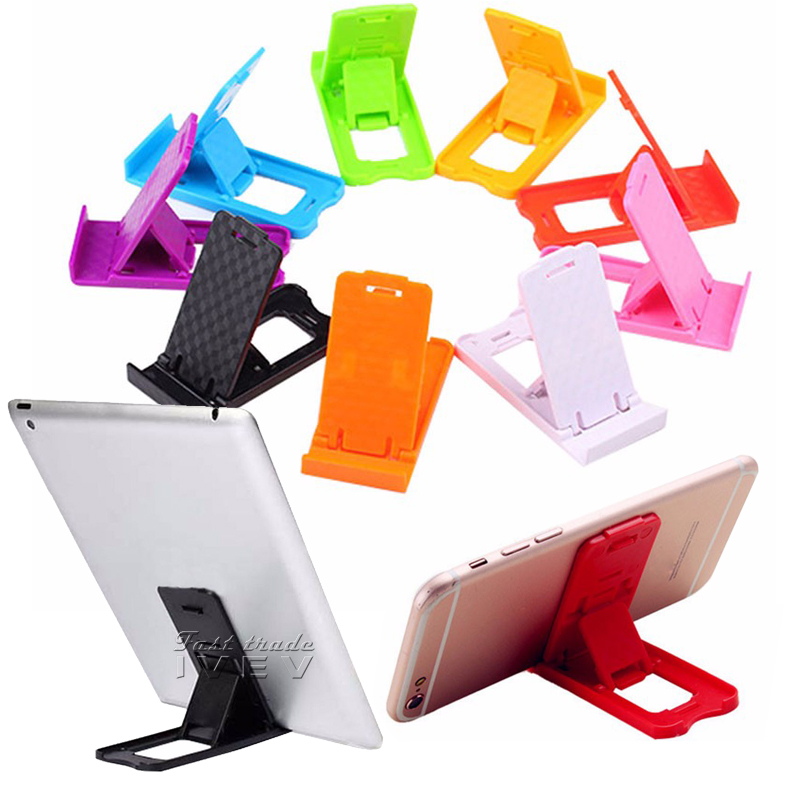 200PCS/Lot Folding Mini Mobile Phone Holder plastic Lazy Phone stand Bed Display phones Accessories for Ipad Tablet Samsung S8