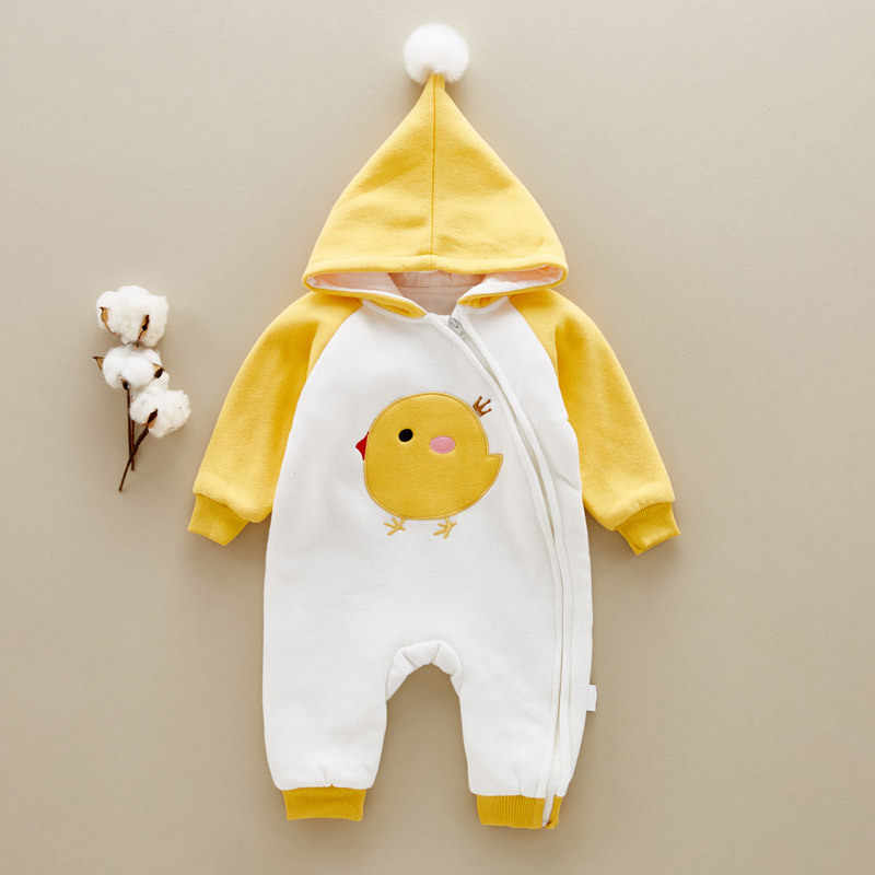 Baby Thick Warm Rompers Winter Boys Sleepwear Girls Newborn Clothes Cartoon Jumpsuit Pajamas Warm Cute Animal Macacao W61