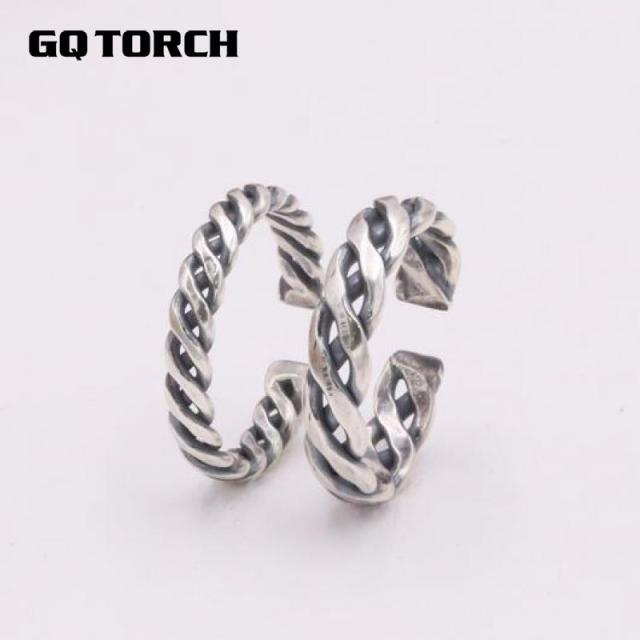 braided and men ring jewelry sterling item women genuine vintage for silver jewellery fine punk rings