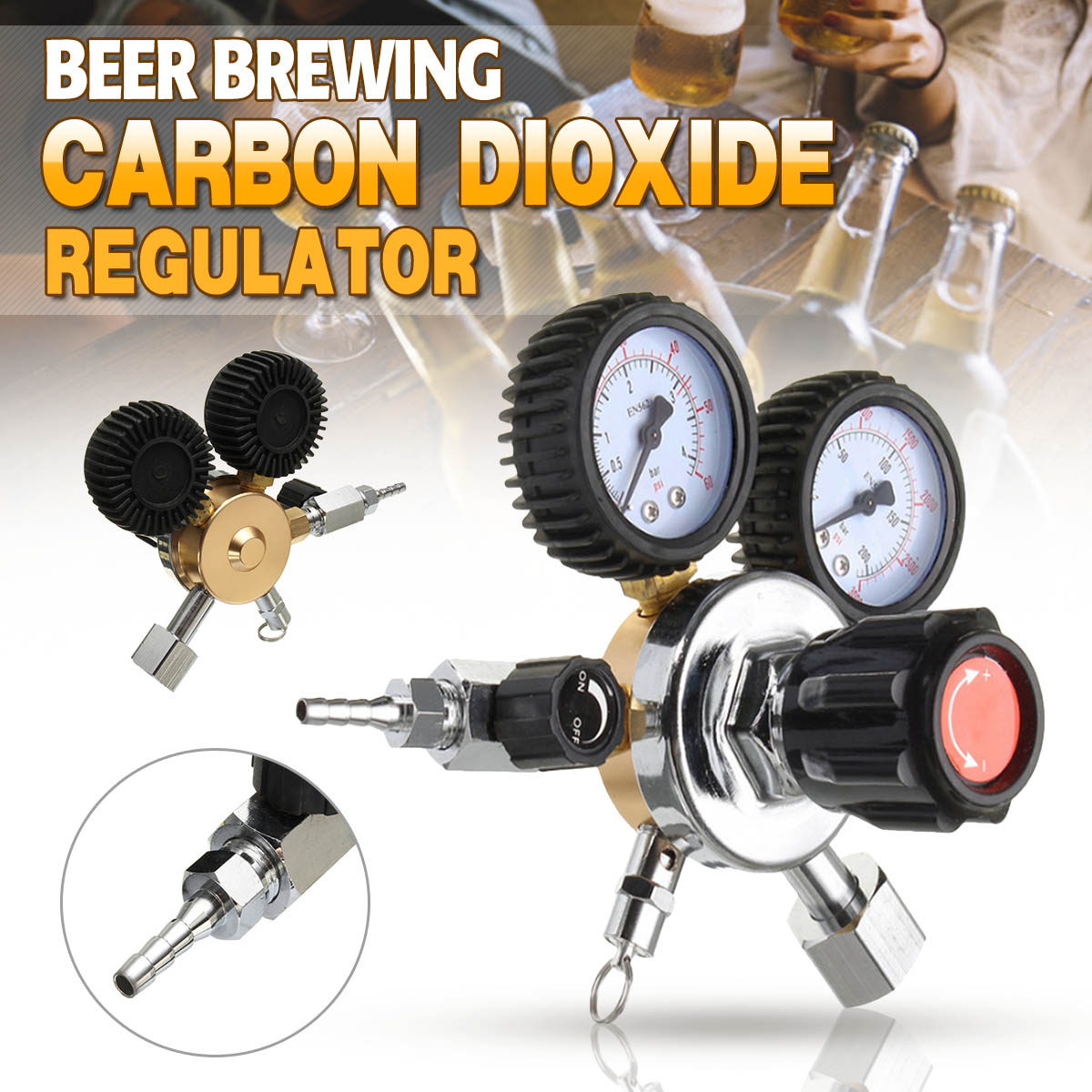 NEW CO2 Gas Bottle Regulator Carbon Dioxide CO2 Regulators Pressure Reducer For Beverage Beer W21.8 Double Gauge Regulator