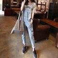 2016 verano denim jeans monos mamelucos del mono de las mujeres de moda bodycon mujeres estilo coreano jean mono playsuit