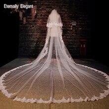 Velo de novia largo con Apliques de encaje bordado, velo blanco marfil de 5M, accesorios de boda con peine EE02