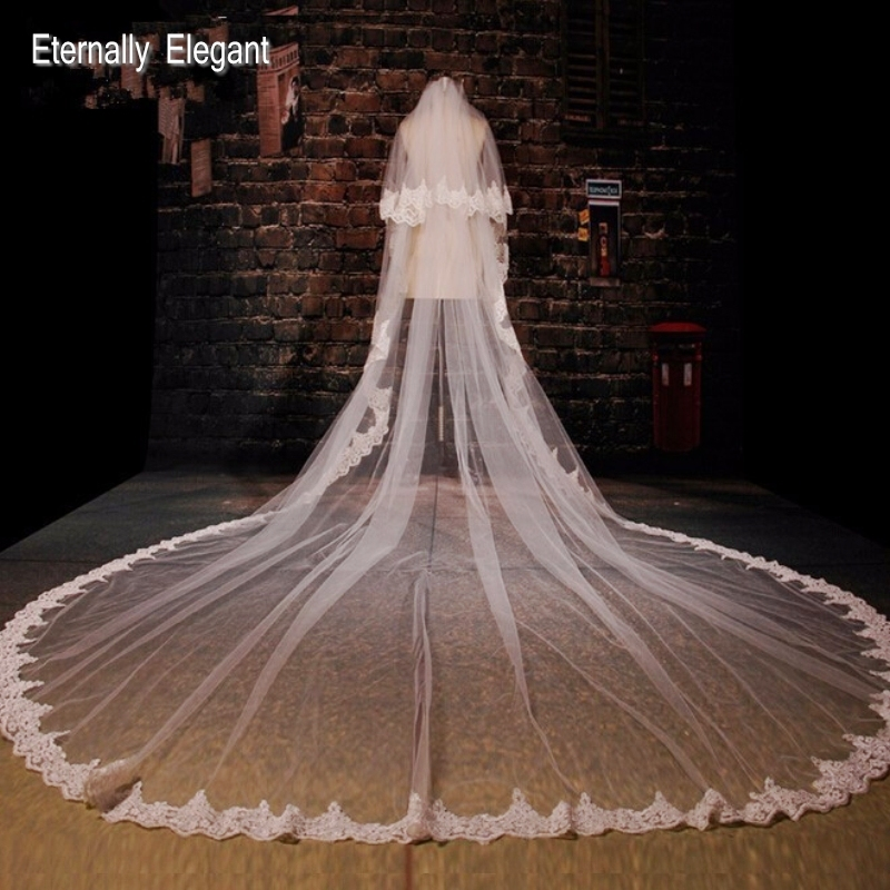 White Ivory 5M Long Embroidered Lace Applique Lace Wedding Veil Long Bridal Veil Wedding Accessories With Comb EE02-in Bridal Veils from Weddings & Events